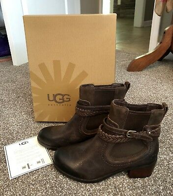 a3829e9fbc7 UGG WOMEN'S ANKLE Boots Booties Shoes Mahogany Brown Leather Suede ...