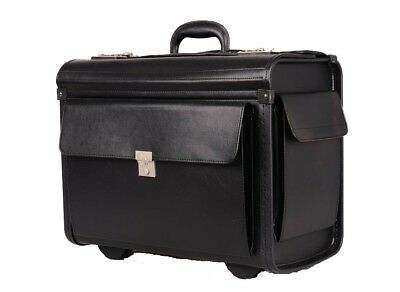 Faux Leather Pilot Case Business Laptop Travel Work Briefcase Trolley 6912