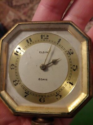 Antique Elgin 8-Sided Style Automobile Car Clock 8 Day Elgin **works!** Nice!