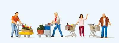 HO Scale People - Shoppers with Shopping Trolleys