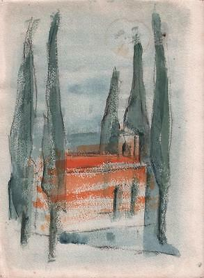 DOROTHY KIRKBRIDE ABSTRACT Watercolour Painting LANDSCAPE c1980 IMPRESSIONIST