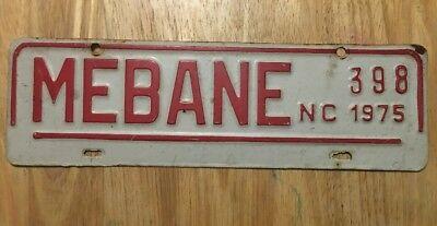 1975 Mebane North Carolina City License Plate Topper Issue #398, NC