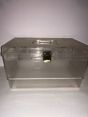Vintage Clear Sewing Storage Box With Pull Out Compartment Tray Great Gift