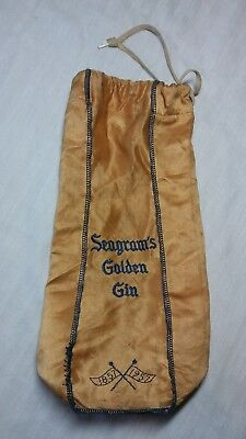 Vintage 1957 Seagram's Golden Gin Carry Drawstring Pouch Bag