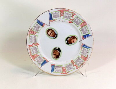 """Antique! 1912 Calendar Plate """"Our Martyrs"""" Cook Pottery Co - Log Cabin Food"""