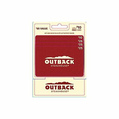 Outback Steakhouse $75 Value Gift Cards - 3 x 25 Gift Cards with a Bonus 10 Card
