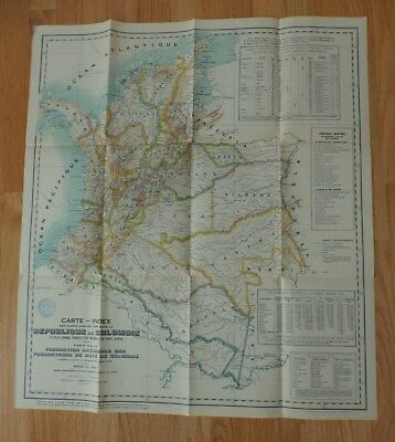 Vintage 1933 Map Of Colombia - Coffee Plantations - In French - Maritime Company