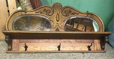 Vintage Solid Oak Double Mirror Coat Rack And Shelf  Pick Up