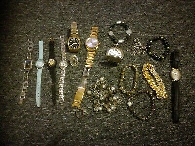 Job Lot of Vintage & Modern Jewellery Inc. pocket watch, watches, rings and more