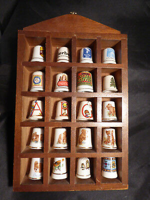 Vintage 20 thimbles in wooden display box