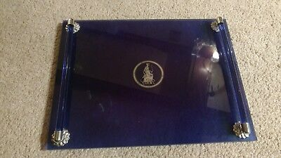 Vintage COBALT BLUE GLASS Vanity Tray art deco etched silver perfume handle lady