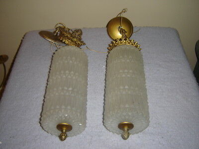 Vintage Pair Retro Frosted Glass Hollywood Regency Swag Hanging Lamps L&L WMC