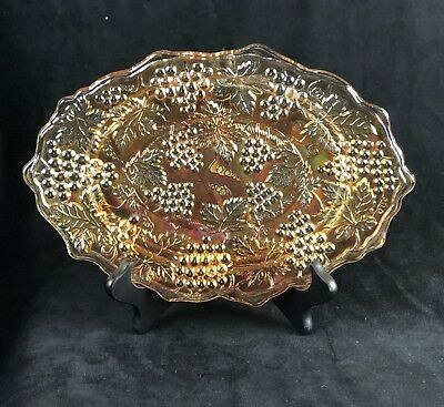 Northwood Marigold Grape & Cable Carnival Glass Dresser Tray