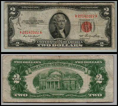 1953 $2 Dollar Bill Old Us Note Legal Tender Paper Money  Red Seal L=0697