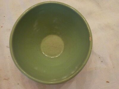 Vintage Green Pottery Mixing Bowl