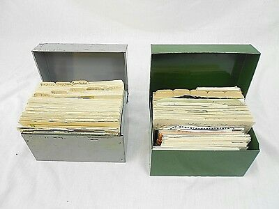 """Vintage Recipes, Two Metal Files, 6-1/2"""" X 4-1/2"""" X 4"""", Full, 1950's - 1970's"""