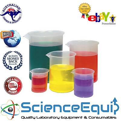 Beakers Graduated Measuring Plastic 50,100,500,1000,2000 ml 1 each KIT 5pc/SET
