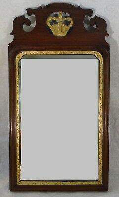 "English Geo. III mahogany framed mirror. c.1770 -1790.  20 1/16""  x 10 5/8"""