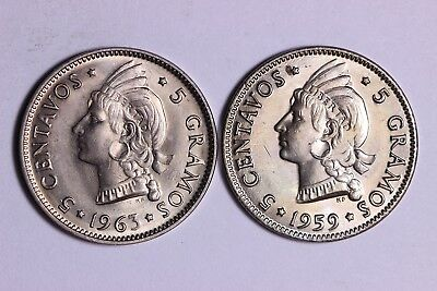 BU 1959 & 1963 Dominican Republic 5 Centavos   Coins Free S/H To The US