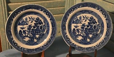 2 Antique Blue Willow 6 Inch Plates Semi China Ridgways England Plate