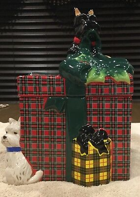 Jeffrey Banks  Cookie Jar- Westie And Scottie With Holiday Present