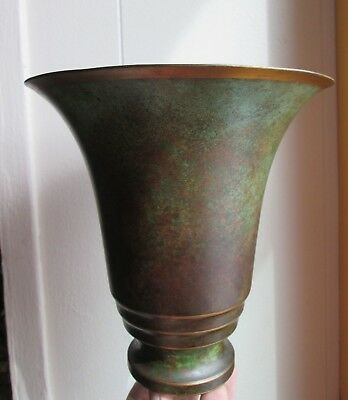 Antique old Signed CARL SORENSEN Art Deco BRONZE footed Trumpet FORM VASE 1920's