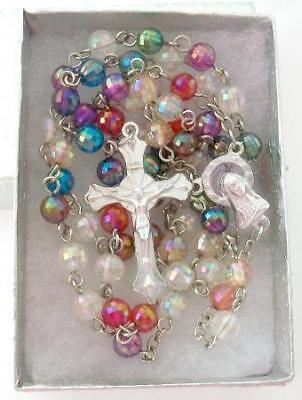 """Multi Color Beaded Chain Rosary Necklace Cross 28"""" Long"""