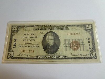 "Rare 1929 $20 Dollar Note. Red Seal, Low Serial #, ""The Boatmans Bank of STL"" VG"