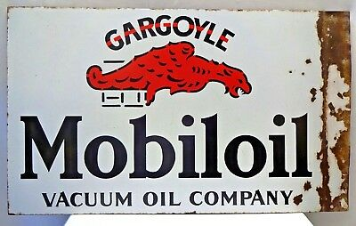 Mobiloil Vacuum Oil Company Vintage Porcelain Enamel Sign Gargoyle Double Sided
