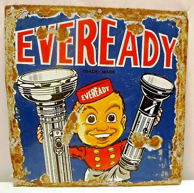 Eveready Sign Vintage Porcelain Enamel Torch And Battery Rare Collectibles # 39
