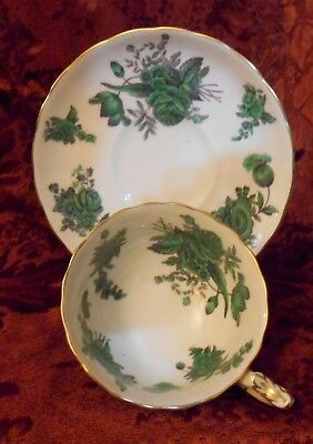 """Royal Chelsea Bone China Emerald Green """"chantilly Rose"""" Tea Cup And Saucer"""