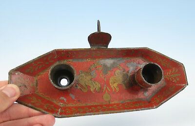 Antique FRENCH TOLEWARE CHAMBERSTICK Candle Holder Enamel PAINTED Red France