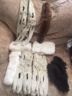 Lot of Vintage FUR Mink Stole Cuffs Antique Fur Antique French German Doll 8Pcs