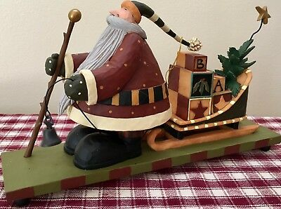 Williraye Studio Folk Art Santa and Sled w/ Presents Christmas Mantel Decor NIB