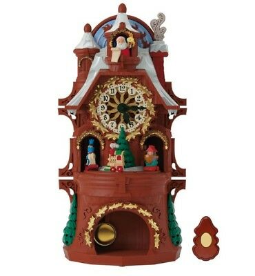 Santa's Musical Christmas Clock With Motion and Light BIG SALE NEW IN BOX