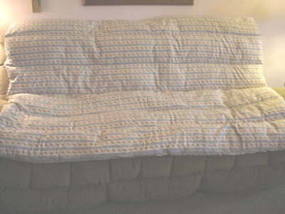 """ANTIQUE FEATHER TICK  BED PAD  75"""" by 54"""" NICE CONDITION HOMEMADE"""