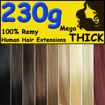 Top Extra THICK Clip in Remy Human Hair Extensions Full Head Black Brown Blonde