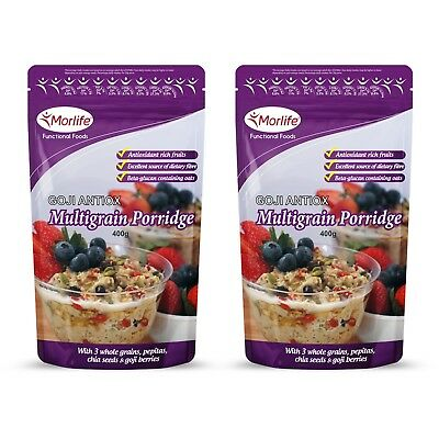 Morlife Goji Antiox Multigrain Porridge 400g x2 | Goji Berries | Fibre