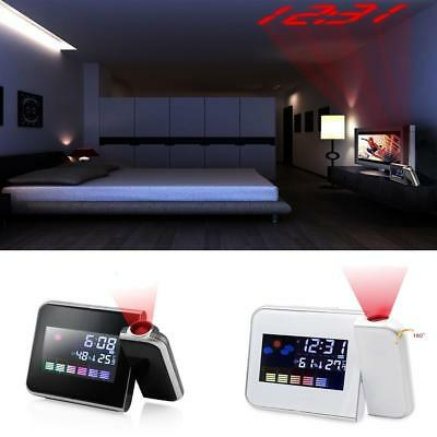 Digital Weather LCD Alarm Clock Color Display Projection LED Backlight Snooze