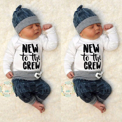 Newborn Baby Boy Girl Clothes Jumpsuit Romper Bodysuit Long Pants Hat Outfit Set