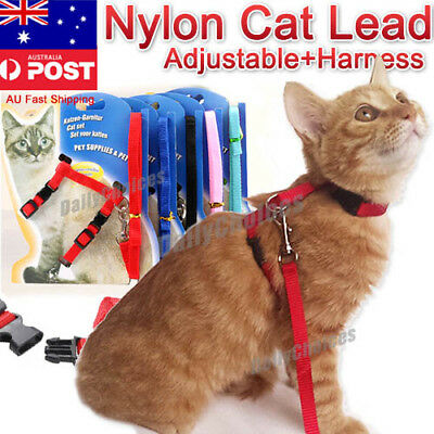 Kitten Cat Walking Harness Lead Leash Collar Adjustable Small Dog Vest for