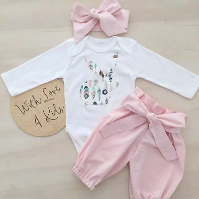 Newborn Kid Baby Girl Easter Bunny Clothes Jumpsuit Romper Tops Pants Outfit Set