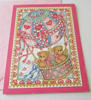 Valentines day vintage greeting cards paper collectibles page 2 unused vtg valentine card lucy rigg bears in hot air balloon current inc m4hsunfo