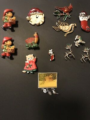 Lot Of 13 Christmas Brooches Hallmark Signed