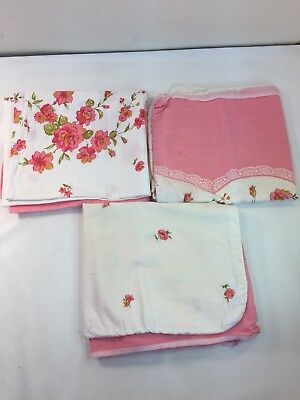Vintage Lot Of 3 Feedsacks Matching Flower Floral Fabric