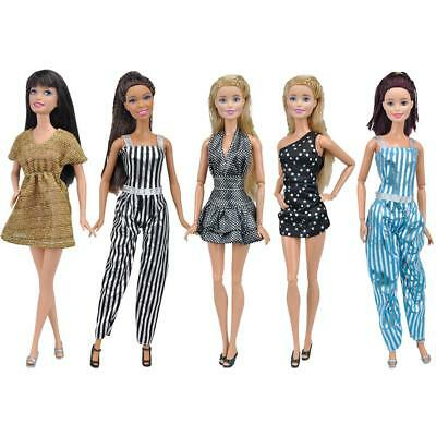 6 Outfits Fashion Shirt Blouse Pants Skirt Daily Dress Clothes fit Barbie Doll