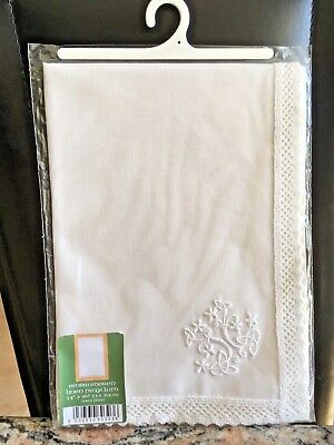 Linen white embroidered tray cloth 14x20