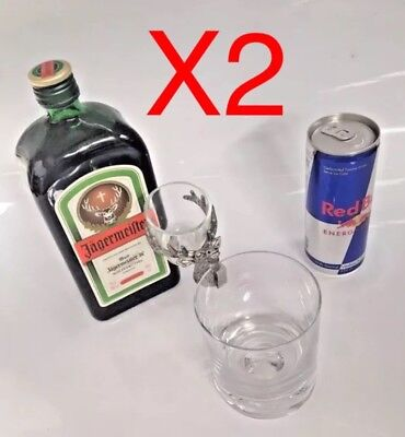 X2 Jagermeister Shot Glass Holder Jager Bomb Party Present Alcohol - Spirit Bar