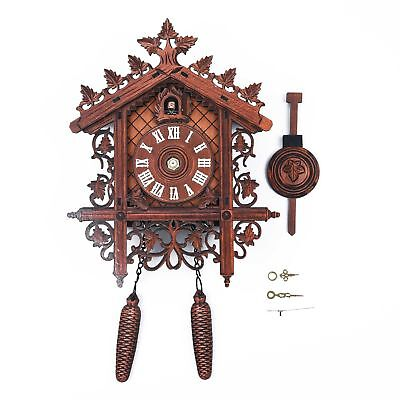 Vintage Wall Clock Handcraft Wood Cuckoo Tree House Swing Art Home Decor Brown