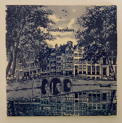 """Delft Blue 6"""" Tile Depicting Amsterdam River and Town Scene. Superb Condition."""